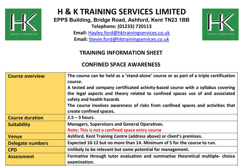 Confined Space Awareness Course