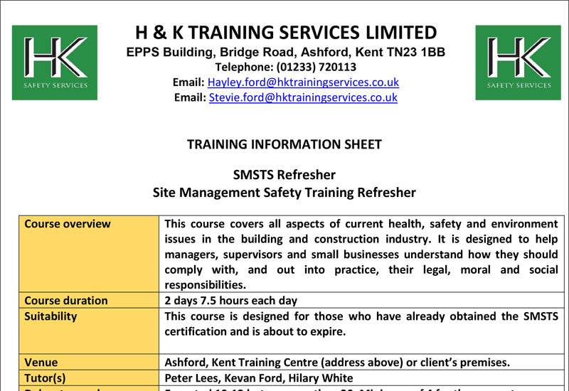 Site Management Safety Training Refresher Course