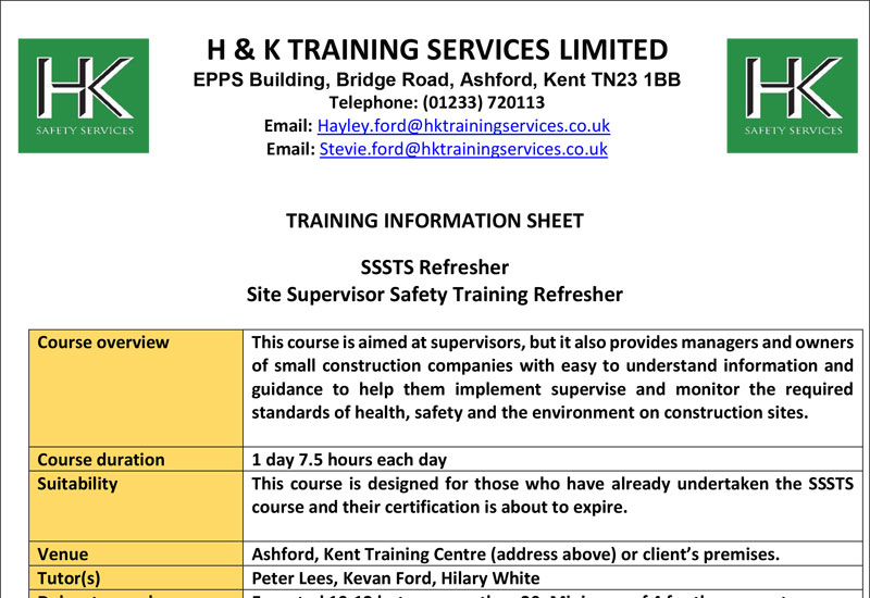Site Supervisor Safety Training Refresher Course